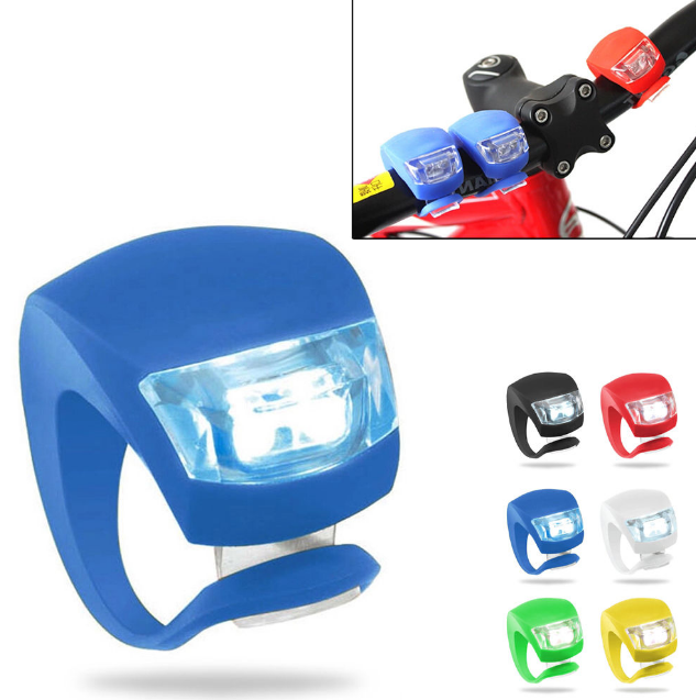 New Silicone Bike Bicycle Cycling 3-Mode Head Front Rear Wheel LED Flash Light